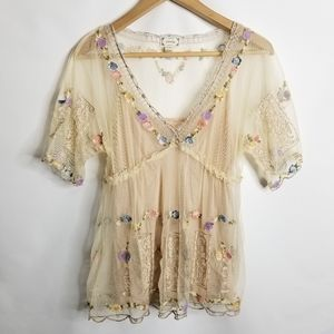 Anthro Viola Passing Though Tulle Floral Vneck Top
